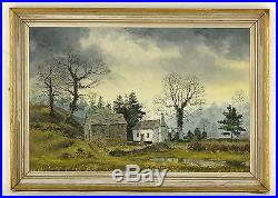 REX PRESTON original oil on canvas PEAK DISTRICT white cottage LANDSCAPE 1971