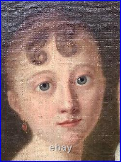 Rare 19thC Antique oil painting Portrait Children in blue eyes French Romantism