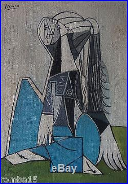 Rare Cubist Original oil, painting, on canvas signed Pablo Picasso w COA
