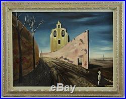 Rare, Large Alvaro Guillot Original Oil on Canvas La Chapelle Perplexe