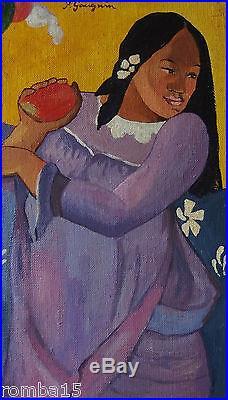Rare Modernist Original oil, painting, on canvas signed Paul Gauguin w COA