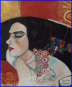Rare Secession Original oil, painting, on canvas signed Gustav Klimt w COA