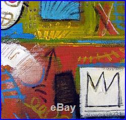 Rare original oil, on canvas painting, signed Jean Michel Basquiat