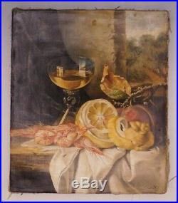 Riccardo Bianchi 1854-1936 ORIGINAL Still Life Oil Painting on Canvas Antique