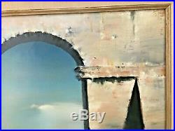 Robert Watson Signed Original Oil on Canvas Large 20 x 24 1973 Ruins Tower