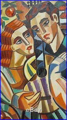 Samuel VEKSLER b1966 cubist large original signed canvas oil painting My Guitar