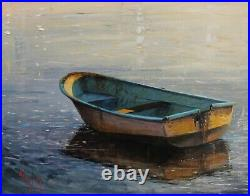 Seascape art oil painting boat reflection original by artist 11x14