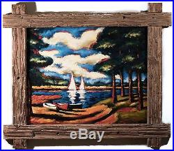 Sergey Cherep Original Oil Painting on Canvas Boats on Lake in Summer, FINE