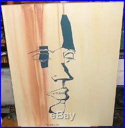 Shabaglian Abstract Face Original Acrylic On Canvas Painting Signed