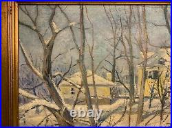 Signed AMERICAN IMPRESSIONIST WINTER LANDSCAPE PAINTING Snow Scene PA NY NJ
