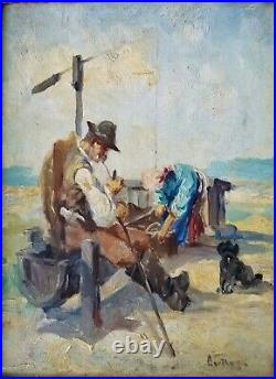 Signed Antique Oil Painting Couple Dog Working The Fields on Canvas Woman Man