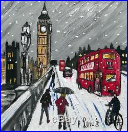 Snow Westminster Original Northern Art Oil Painting on Canvas Phil Lewis