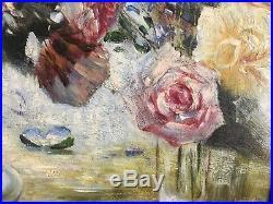 Stunning oil on canvas vase of roses, Owen Bowen original