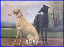 Superb antique French framed original oil on canvas painting, two greyhound dogs