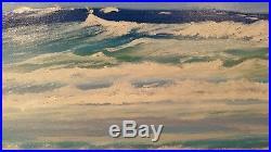 THOM ORIGINAL OIL PAINTING ON CANVAS 20x16 ORMOND BEACH EGRET WAVE WALKER FLA
