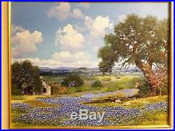 Texas Bluebonnets, William A Slaughter oil painting on canvas 16x20 Original
