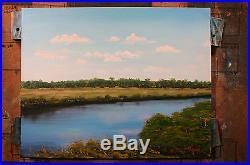 Thom Original Oil Painting On Canvas 20x16 Florida Sunshine Coastal Marsh