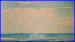 Thom Original Oil Painting On Canvas 24x18 Egret Hunting Calm Surf Florida Beach