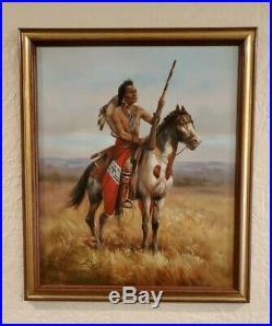 Troy Denton Original Art Painting On Canvas Native American Warriors On Horse
