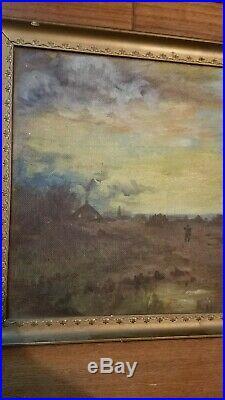 VINTAGE antique original oil painting on canvas framed landscape field scene