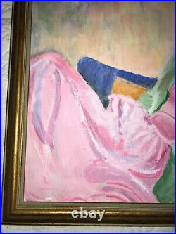 VINTAGE young woman portrait original painting hand painted 60s groovy pink mod