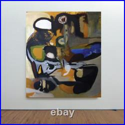 VTG 60s Mid-century Modern Franklin NYC Huge Abstract Original Oil Painting MCM