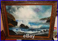 Van Gores Huge Original Oil On Canvas Seascape Painting California Artist
