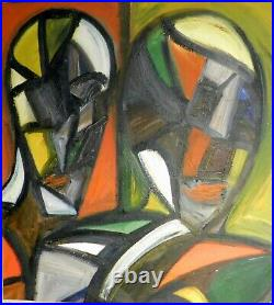 Vintage Abstract Oil Painting Cubism Double Portrait Lovers Mid-Century COLOR