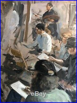 Vintage Albert Wasserman New York City Art Studio Double Sided painting ASL WPA