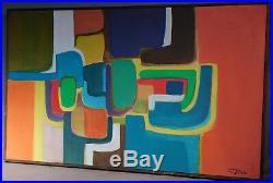Vintage American Modern Abstract Oil Painting Chris Triola Michigan Designer 67