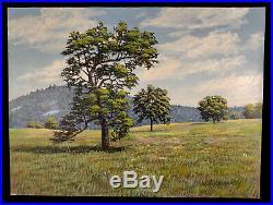 Vintage California Landscape Painting Trees Sierra Nevada Foothills J Ed Hensley