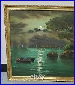 Vintage Framed Oil Painting of a Moonlit River Signed by Artist