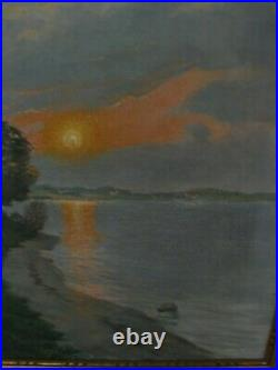 Vintage Framed Oil on Canvas Coastal Landscape at Sunset Listed Danish Artist
