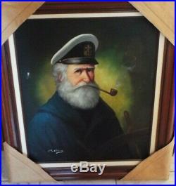 Vintage Framed Original Oil On Canvas Painting Of Sea Captain, David Pelbam Coa