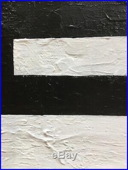 Vintage Mid Century Abstract Geometric Painting Hard Edge 1973