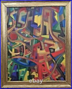 Vintage Mid Century Cubist Abstract Geometric Oil Painting