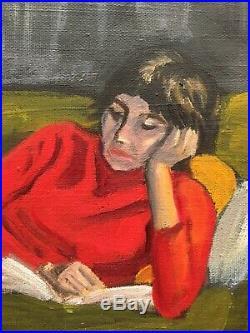 Vintage Mid Century Impressionist Bohemian Boho Portrait Oil Painting