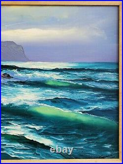 Vintage Mid-Century Seascape Coastal Original Oil Painting Ocean Waves Luminist