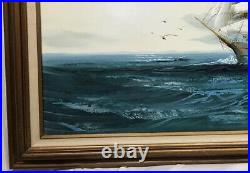 Vintage Nautical Ship Original Oil Painting With Nice Wooden Frame