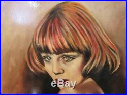 Vintage Nude Red Haired Woman Portrait Original Painting on Canvas