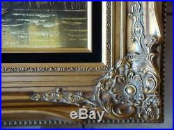 Vintage Original Framed Venice Cityscape Oil Painting on Canvas Signed Irving