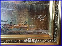 Vintage Original Oil Painting On Canvas Landscape Signed Ornate Frame