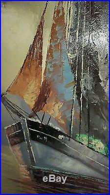 Vintage Original Painting On Canvas Gold Gild Wood Frame Signed Herman Seascape