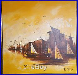 Vintage Painting Original Abstract Oil on Stretched Canvas by R. Styles