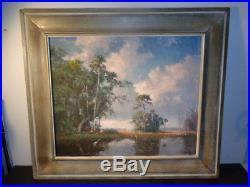 Vintage RARE A E Backus Original Everglades Scene Oil on Canvas (20 by 24)
