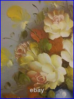 Vintage ROBERT COX Canvas Painting Floral Still Life In Gold Gilded Frame