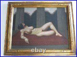 Vintage Surreal Art Deco Nude Female Woman Model Signed Mystery Artist Monogram