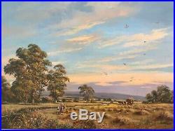 Vintage gilt framed original signed oil painting by Don Vaughn HUGE on canvas