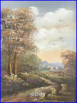 Vintage gilt framed original signed oil painting by artist A Jurel on canvas
