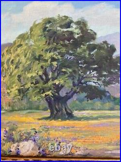 Vintage plein air California oil painting poppies with vivid colors ca 1930's